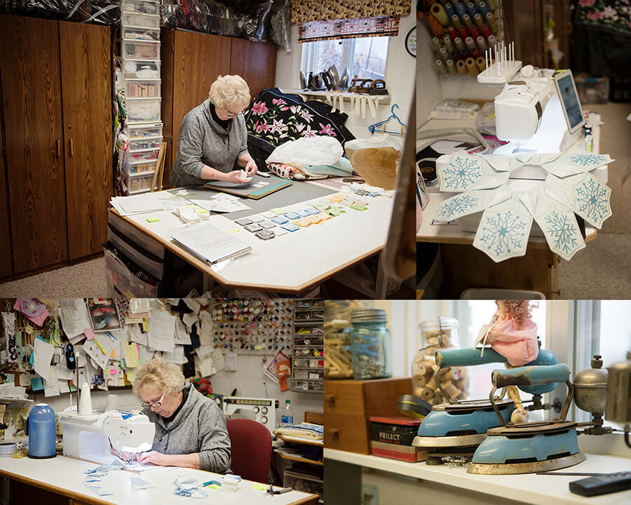 Barb Schmaus working on quilts.