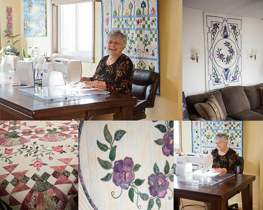 Creuza Squires at her sewing machine and some of her quilts